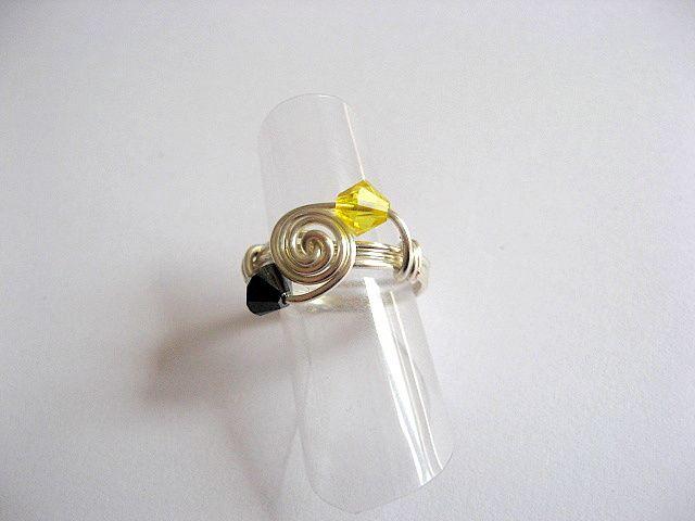 Inel culori galben cu negru cristal Swarovski 24580