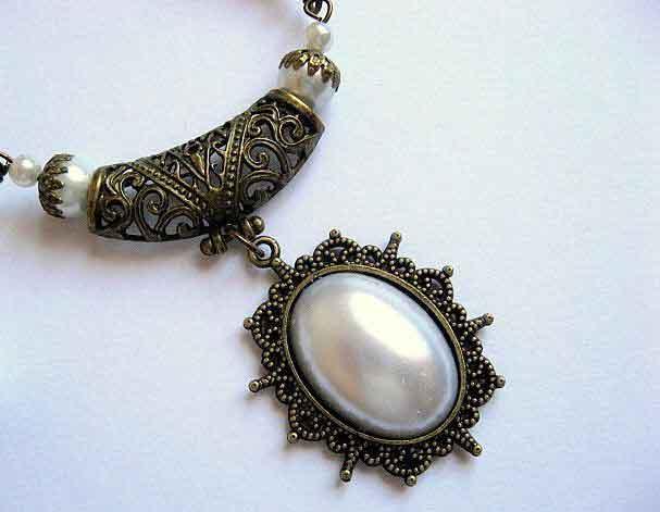Bijuterii handmade colier cu pandantiv si cercei perle sticla 16974 poza 2