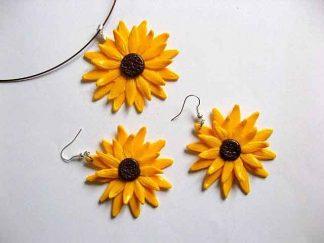 Bijuterii model floarea soarelui cercei si colier fimo 26840