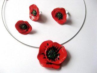 Bijuterii model maci rosii, colier, cercei si inel fimo 13384