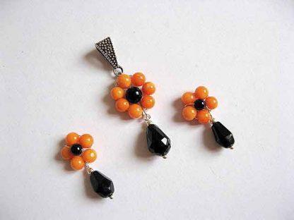 Bijuterii pandantiv si cercei, coral portocaliu, onix si cristale 20377