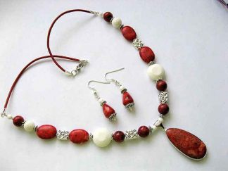 Bijuterii set cercei si colier coral alb si rosu 18148