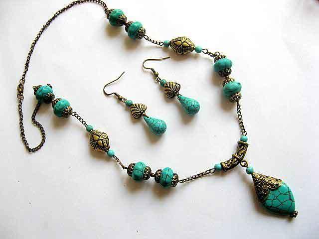 Bijuterii turcoaz colier si cercei si accesorii din bronz 16483