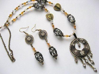 Bronz si cristale set bijuterii colier si cercei 18857.