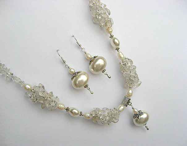 Colier si cercei cristale de stanca, perle naturale si perle Mallorca 18924