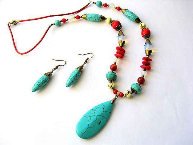 Coral, agate, turcoaz si piatra lunii, set bijuterii colier si cercei 18103 poza 2