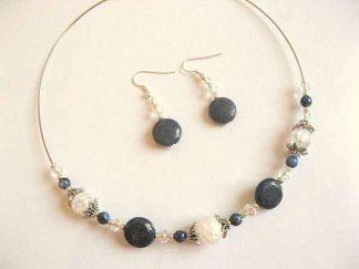 Cristal de piatra si lapis lazuli set bijuterie colier si cercei 16647