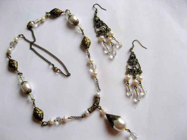 Cristale si perle naturale set colier si cercei 16534