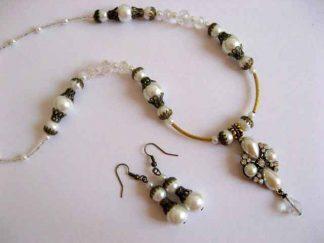Cristale si perle sticla, bijuterii set colier si cercei 16985