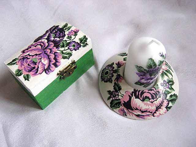 Floare mov deschis si mov inchis, cutie si suport lumanare 24108
