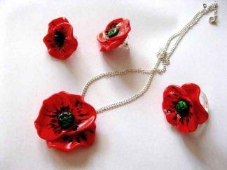 Flori maci rosii, colier, cercei si inel 16711