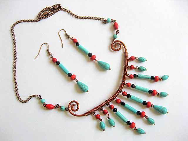 Howlite rosu, turcoaz si cristale, bijuterie set colier si cercei 22497