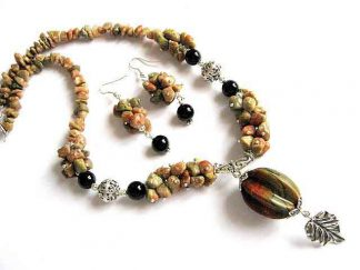 Jasp multicolor set bijuterii colier si cercei 19071