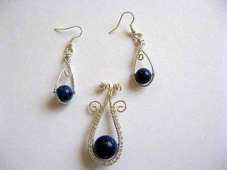Lapis lazuli pietre semipretioase set pandantiv si cercei 20942