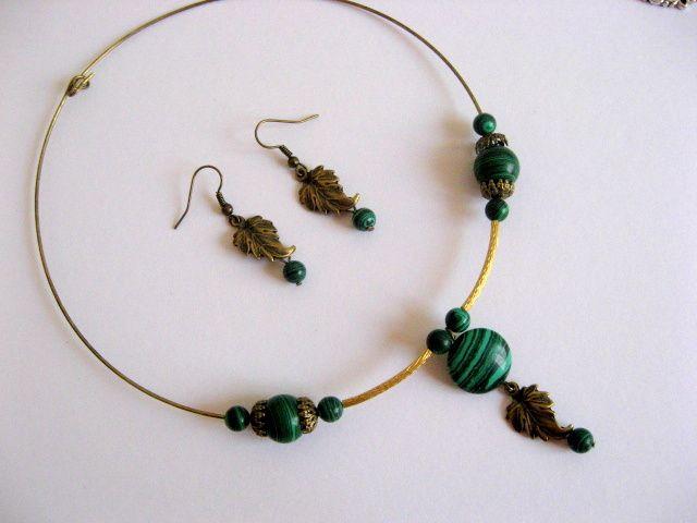 Malachit pietre semipretioase set bijuterie colier si cercei 16984.