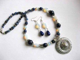Opal si lapis lazuli set bijuterie colier si cercei 25687