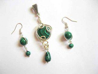 Pandantiv si cercei set bijuterii pietre malachit verde 20389