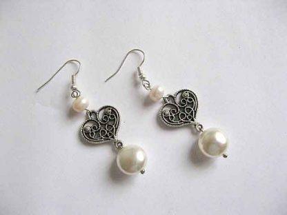 Perle Mallorca, perle cultura si cristale set colier si cercei 16779 doar cerceii