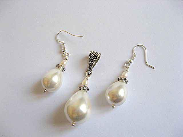Perle naturale model set pandantiv si cercei 19673