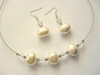 Perle naturale si cristale set colier si cercei 15356