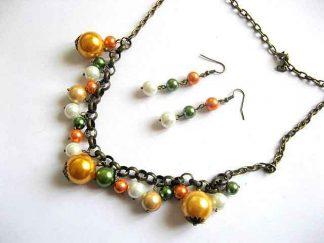 Perle sticla colorate, set lucrat manual colier si cercei 21533