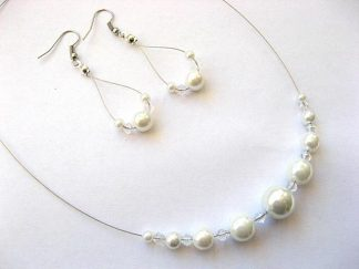 Perle sticla culoare alba, bijuterii set colier si cercei 4680