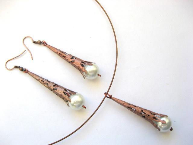 Perle sticla si elemente cuprate, bijuterii colier si cercei 10452