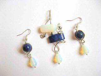 Piatra lunii si lapis lazuli set bijuterie pandantiv si cercei 20391