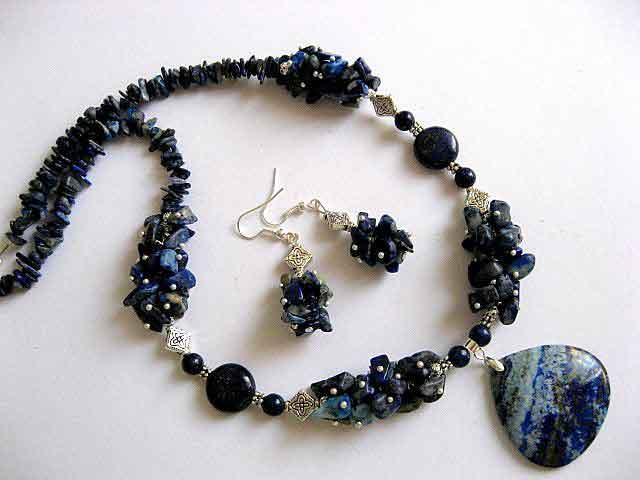 Lapis lazuli pietre set bijuterii colier si cercei 19082