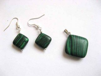 Pietre malachit verde cu negru pandant si cercei 23606