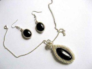 Pietre onix negru bijuterii pietre semipretioase colier si cercei 19095