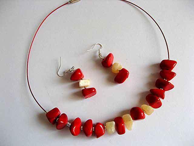 Set bijuterie colier si cercei calcit si jad pietre semipretioase 19481