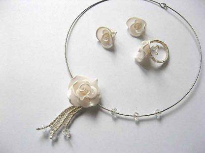 Set bijuterii fimo si cristale colier, cercei si inel 16911