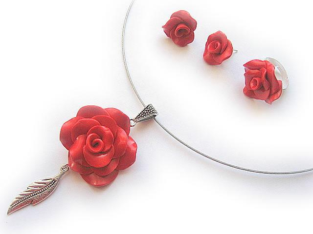 Set bijuterii mireasa cu trandafiri rosii 10639