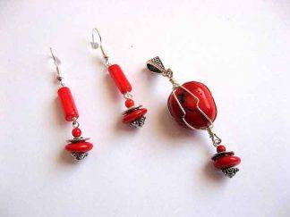 Set bijuterii pandativ si cercei cu coral rosu 25907