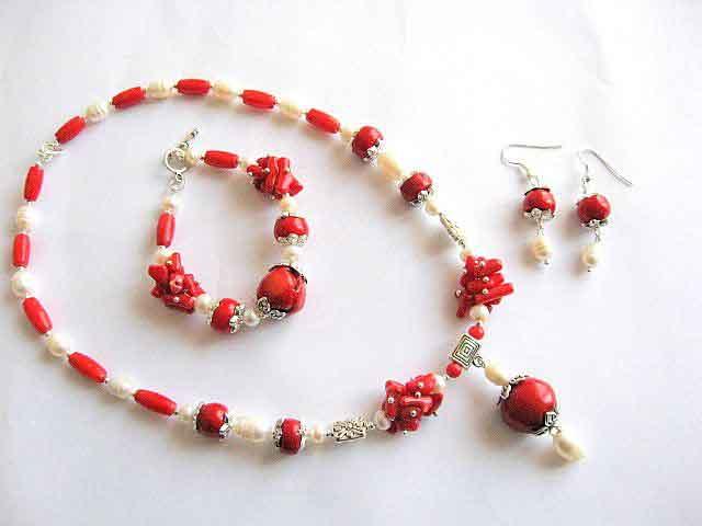 Set cercei, colier si bratara bijuterii coral si perle naturale 15838