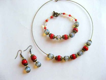 Set colier, bratara si cercei, bijuterii coral si piatra lunii 16612