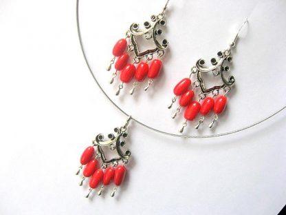 Set colier si cercei bijuterii coral 11528