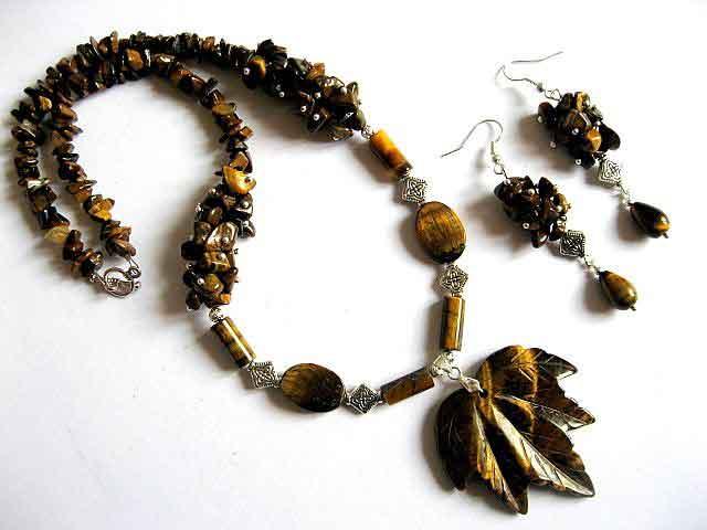 Set colier si cercei ochi de tigru, bijuterii pietre semipretioase 20668