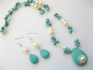 Set colier si cercei turcoaz si perle de cultura 10257