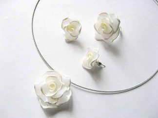 Set fimo bijuterii mireasa trandafiri albi 13357