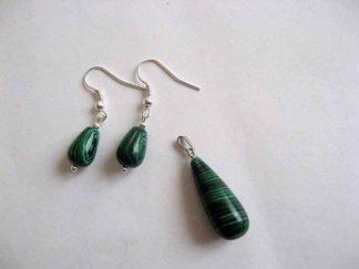 Set pandantiv si cercei pietre malachit verde cu negru 23615