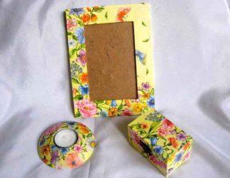 Suport lumanare, cutie si rama decorata flori si fluturi 25365