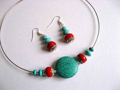 Turcoaz si coral, set bijuterie colier si cercei 16969