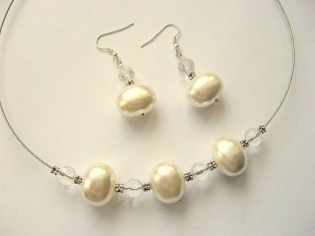 Set mireasa colier perle naturale si cristale 15356