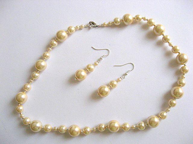 Set mireasa cu colier si cercei din perle de sticla 19087