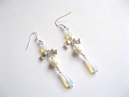 Cercei pentru mireasa din perle Mallorca si piatra 21481