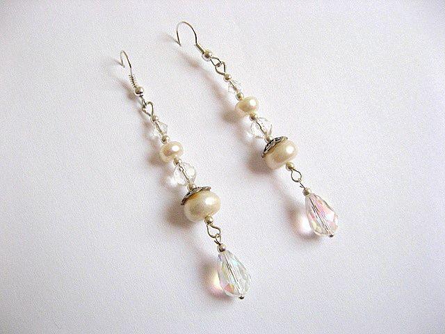Cercei pentru mireasa din perle naturale si cristale 23757