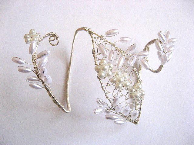 Bratara pentru mireasa cu inel din perle 24188