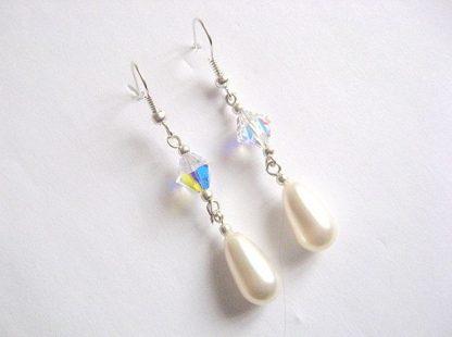 Cercei mireasa din perle si cristale swarovski 25465
